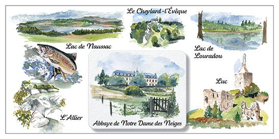 cartes postales aquarelles sur le chemin de stevenson gr70 en 11 tapes editions l atelier de. Black Bedroom Furniture Sets. Home Design Ideas