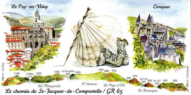 Cartes postales aquarelles sur le chemin de stevenson st - Saint jean pied de port saint jacques de compostelle distance ...